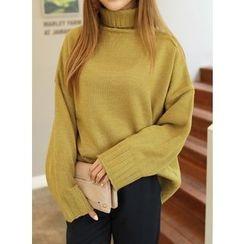 BBAEBBAE - Turtle-Neck Drop-Shoulder Sweater