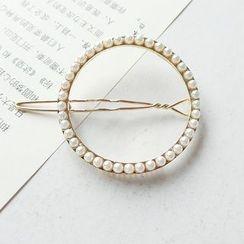 Gold Beam - Faux Pearl Circle Hair Clip