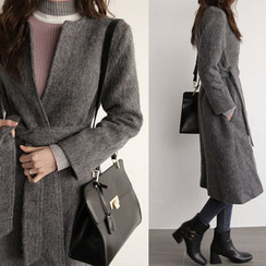 NIPONJJUYA - Collarless Wool Blend Wrap Coat with Sash