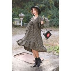 PPGIRL - Ruffle-Hem Checked Dress