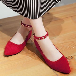 Gizmal Boots - 钉珠踝带平跟鞋