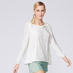 O.SA - Long-Sleeve Crochet Panel Pleated Top