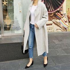 STYLEBYYAM - Wool Blend Snap-Button Coat
