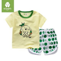 Endymion - Kids Set : Owl Short-Sleeve T-shirt + Patterned Shorts