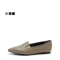 MODELSIS - Genuine Leather Pointy-Toe Loafers