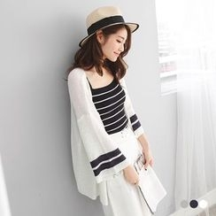 OrangeBear - Varsity-Striped Knit Longline Cardigan