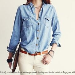 NANING9 - Snap-Button Denim Shirt