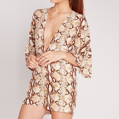 Obel - Snake Patterned 3/4 Sleeve Playsuit