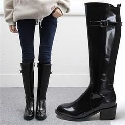 Reneve - Chunky-Heel Buckled Patent Tall Boots