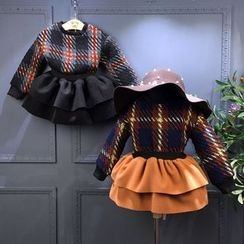 Spring Swallow - Set: Kids Plaid Sweater + Layered Skirt