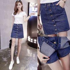 Angel Shine - Buttoned Denim Skirt