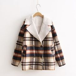 Vateddy - Plaid Double Breasted Jacket