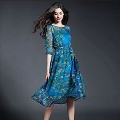 Lavogo - Elbow-Sleeve Floral Tie Waist Midi Dress