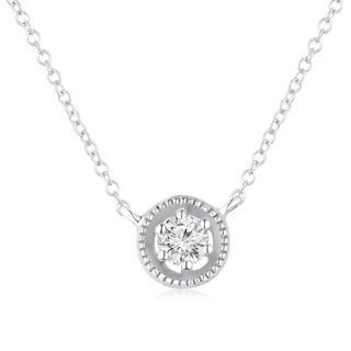 MBLife.com - Left Right Accessory - 9K White Gold Dainty Tiny Halo Diamond Solitaire Pendant Necklace 15' (0.1 ct, G-H Color, VS2-SI1 Clarity)