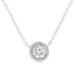 MBLife.com - Left Right Accessory - 9K 白色黄金精致圆形单颗钻石项链 (15')