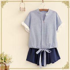 布衣天使 - 皺褶袖開領襯衫