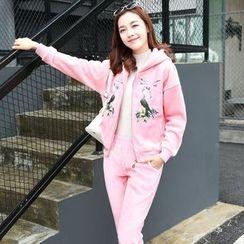 AiSun - Set: Floral Hooded Jacket + Sweatpants