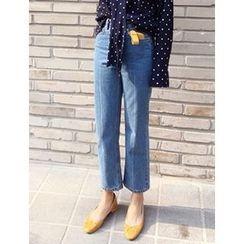 FROMBEGINNING - High-Waist Straight-Cut Jeans