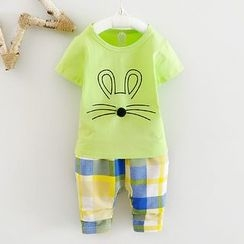 POMME - 小童套裝: 小鼠短袖T恤 + 格子褲