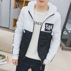 Danjieshi - Lettering Two-Tone Hooded Padded Jacket
