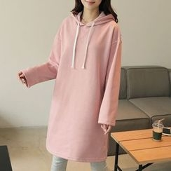 CLICK - Brushed-Fleece Hooded Dress