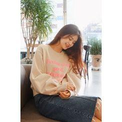 CHERRYKOKO - Balloon-Sleeve Lettering Sweatshirt
