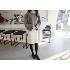 Hello sweety - Band-Waist Slit-Back Knit Skirt