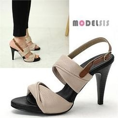 MODELSIS - Genuine Leather High-Heel Sandals