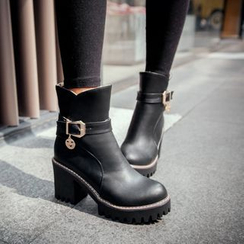Shoes Galore - Buckled Block Heel Short Boots