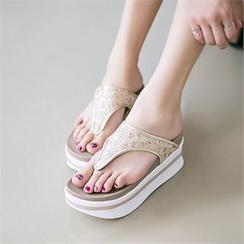 Mizshoes - 光面帶夾腳拖鞋