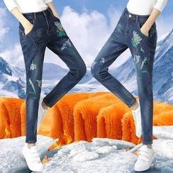 伊之戀 - 刺繡內加絨牛仔褲