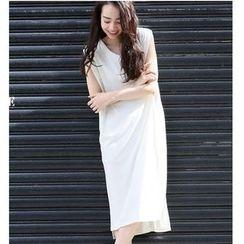 Pluvio - 純色V領背帶連衣裙