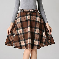 Hazie - Plaid Midi Skirt