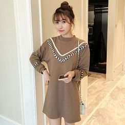 Colorful Shop - Long-Sleeve Paneled Dress