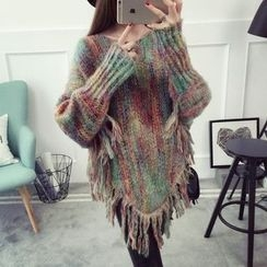 Qimi - Fringed Multicolor Sweater