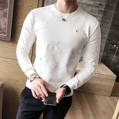 Maluda - Long-Sleeve Embroidery T-Shirt