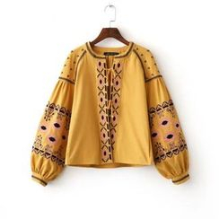 Amoura - Embroidered Open Front Jacket