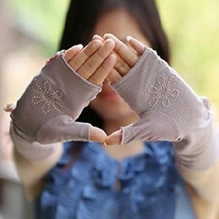 Thantrue - Bow-Accent Fingerless Long Gloves