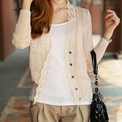 Coralie - Lace Trim Perforated Knit Cardigan
