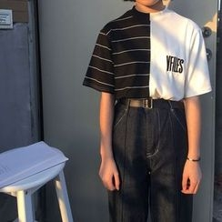 Chililala - 短袖插色拼接T恤
