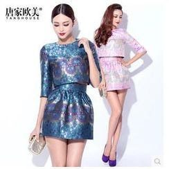 Tang House - Set: Elbow-Sleeve Print Cropped Top + High-Waist Skirt