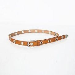 DABAGIRL - Eyelet Genuine-Leather Slim Belt