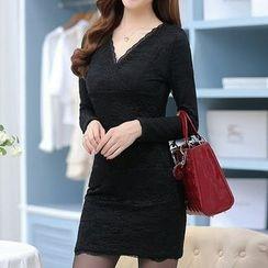 Fashion Street - V-Neck Long Sleeve Lace Mini Dress