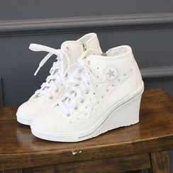 DANI LOVE - Wedge-Heel Quilted Sneakers