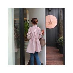 LEELIN - Lace-Yoke Banded-Waist Jacket