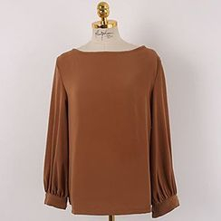 Queen Bee - Boat Neck Chiffon Blouse