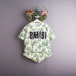 Kidora - 小童套装: 印花短袖T恤 + 短裤