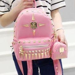 Merlain - Studded Faux Leather Backpack
