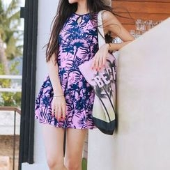 Jewegi - Palm Tree Print Swimdress
