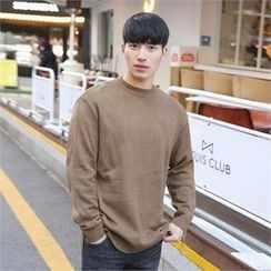 STYLEMAN - Round-Neck Slit-Side Sweater